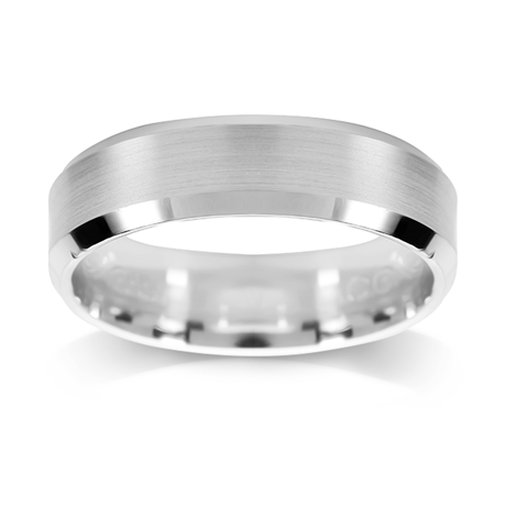 Platinum 6mm Concave & Polished Edge Wedding Ring