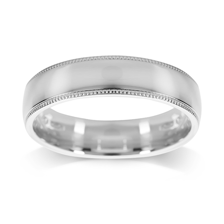 Platinum 5mm Polished with Milgrain Edge Wedding Ring