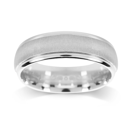 Platinum 5.5mm Brushed & Polished Edge Wedding Ring