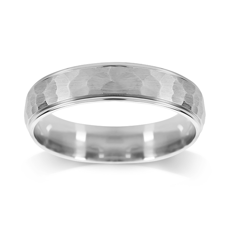 Platinum 5mm Hammered Wedding Ring