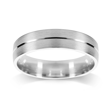 Platinum 5mm Brushed & Polished Centre Wedding Ring