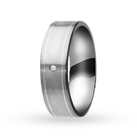 7mm diamond set gents wedding ring in Titanium