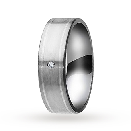 10mm diamond set gents wedding ring in Titanium