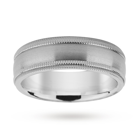 7mm Titanium Milgrain Edge Gents Ring
