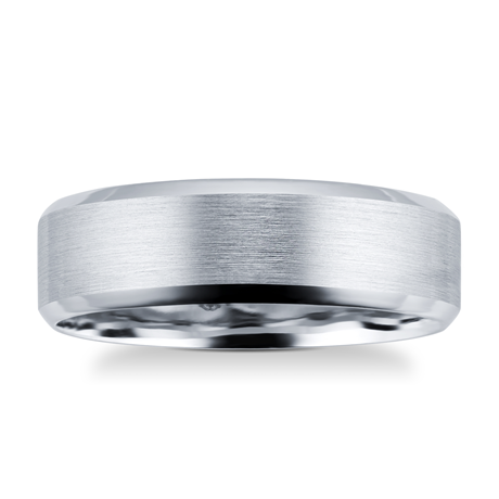 Platinum Mens Edged Fancy Wedding Ring