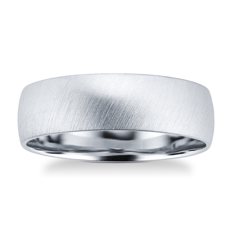 Platinum Mens Matte Fancy Wedding Ring