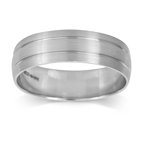 Platinum Mens 2 Groove Fancy Wedding Ring