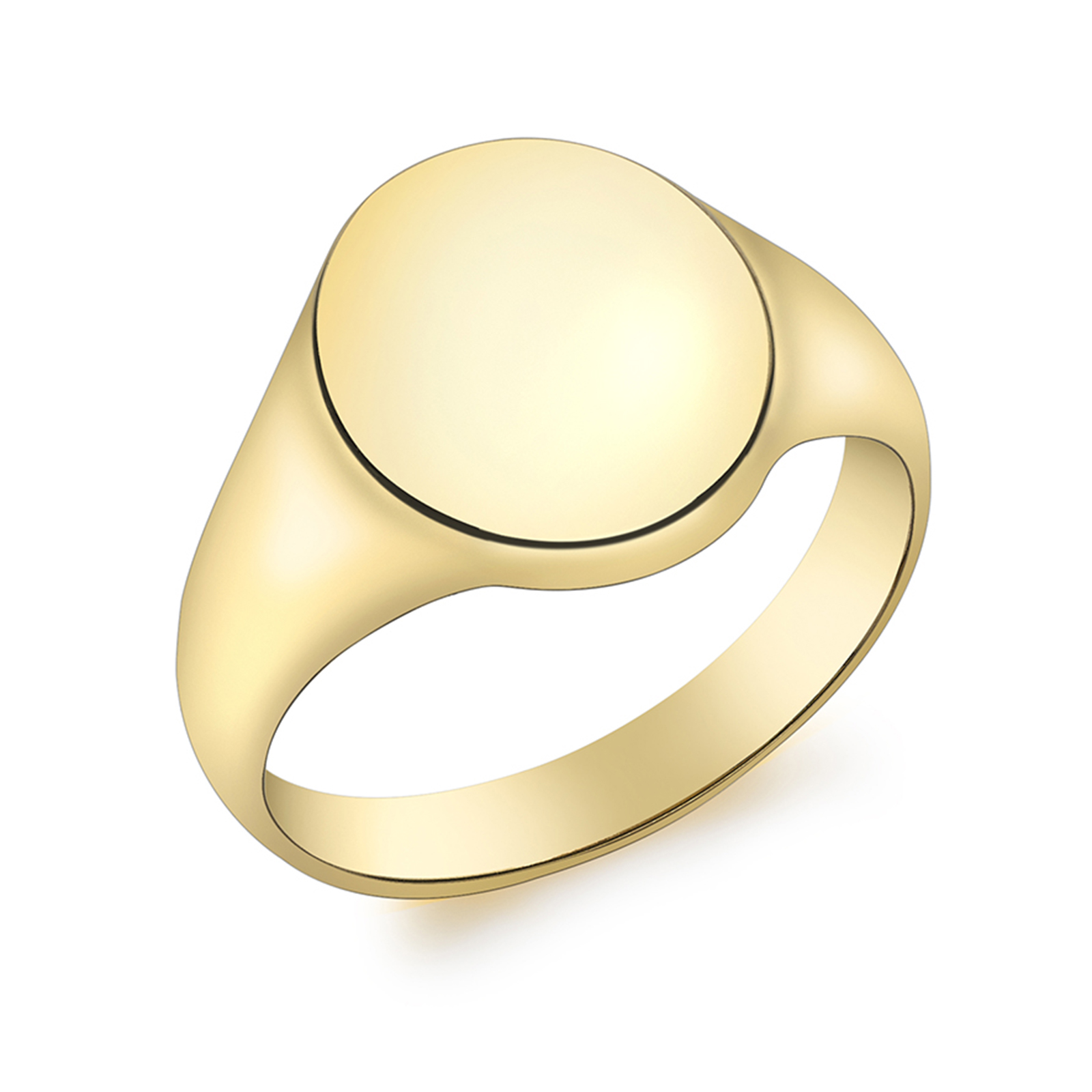 9ct Yellow Gold Oval Plain Signet Ring - Ring Size L