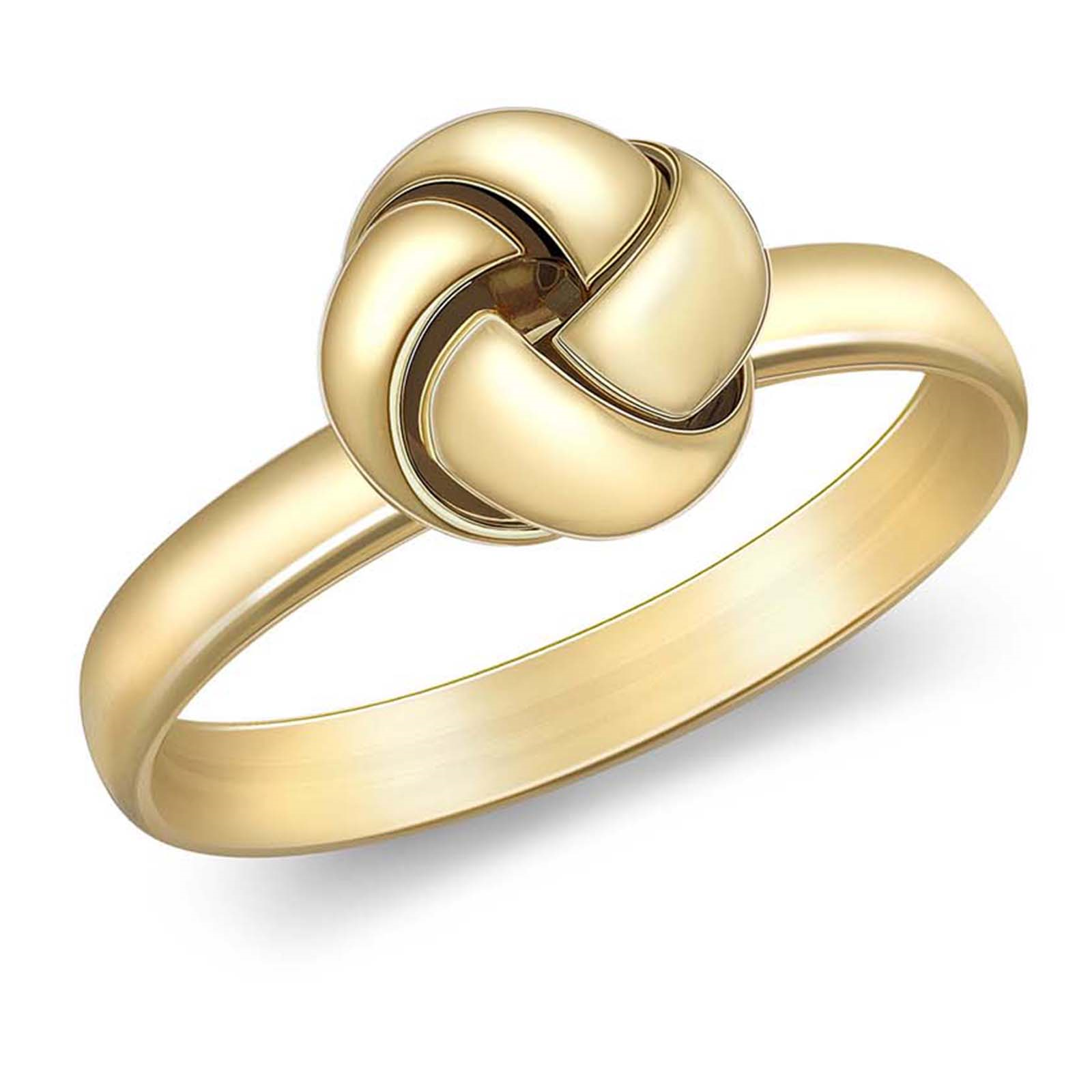 9ct Yellow Gold 4 Way Knot Ring - Ring Size M