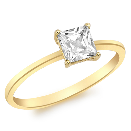 9ct Yellow Gold Princess Cut Cubic Zirconia Solitaire Ring