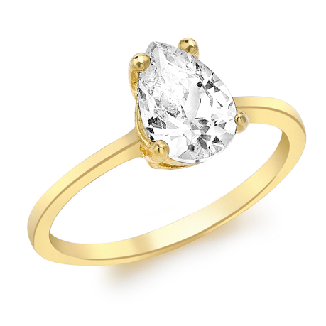 9ct Yellow Gold Pear Cut Cubic Zirconia Solitaire Ring