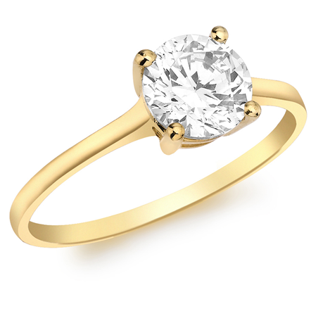 9ct Yellow Gold Brilliant Cut Cubic Zirconia Solitaire Ring