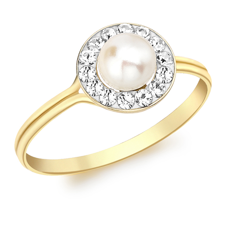9ct Yellow Gold Round Crystal and Pearl Ring