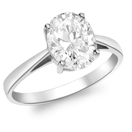 9ct White Gold Oval Cubic Zirconia Solitaire Ring