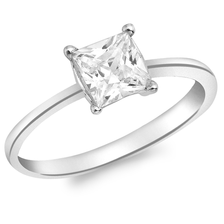 9ct White Gold Princess Cut Cubic Zirconia Solitaire Ring