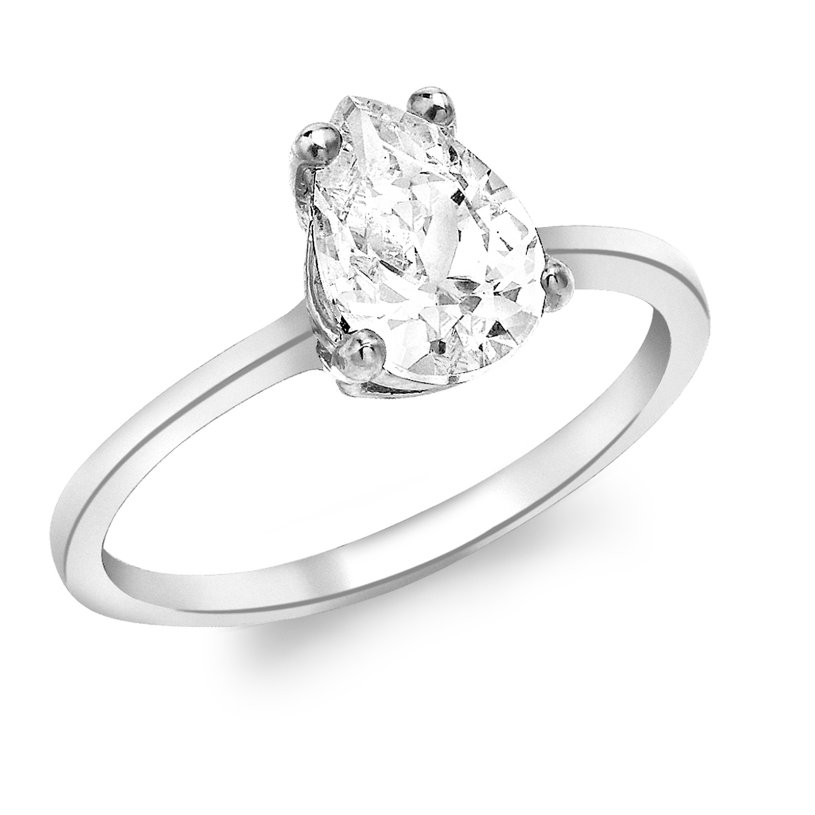9ct White Gold Pear Cut Cubic Zirconia Solitaire Ring - Ring Size J