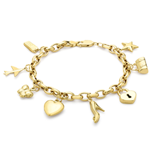 9ct Yellow Gold 8 Charm Belcher Bracelet