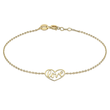 9ct Yellow Gold Love Heart Bracelet