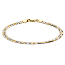 9ct Tricolour Gold Plait Herringbone Bracelet