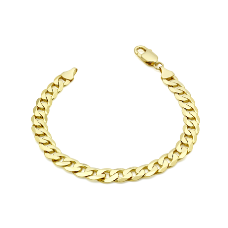 9ct Yellow Gold 7mm 20cm Curb Chain Bracelet