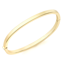 For Her - 9ct Yellow Gold Rectangular Tube Bangle - 11047454