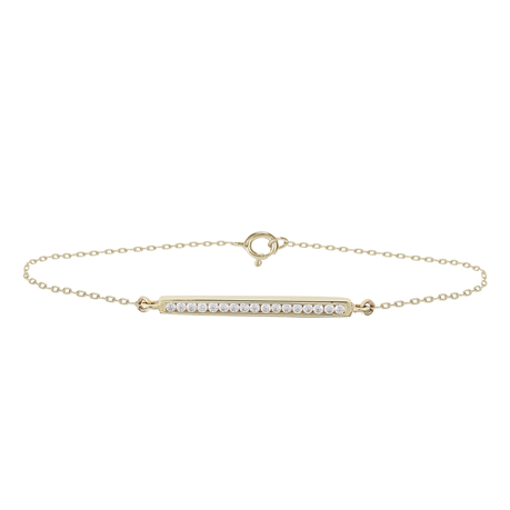 9ct Yellow Gold Cubic Zirconia Bar Bracelet