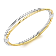 9ct Bicolour Gold Double Row Bangle