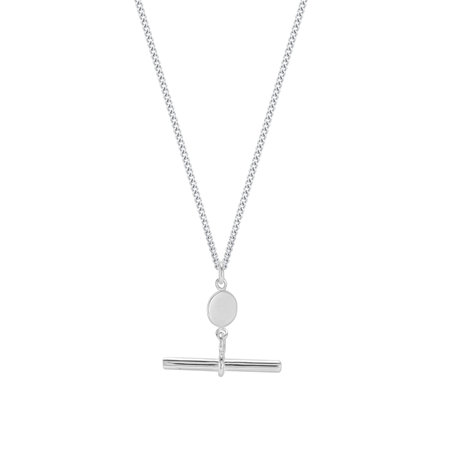 Sterling Silver T-Bar & Disc Chain Necklace