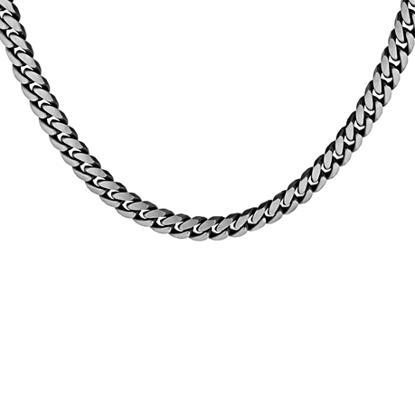 Sterling Silver Mens 20 Inch 220 Oxidised Curb Chain