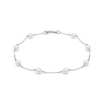 9ct White Gold Multi Pearl Bracelet