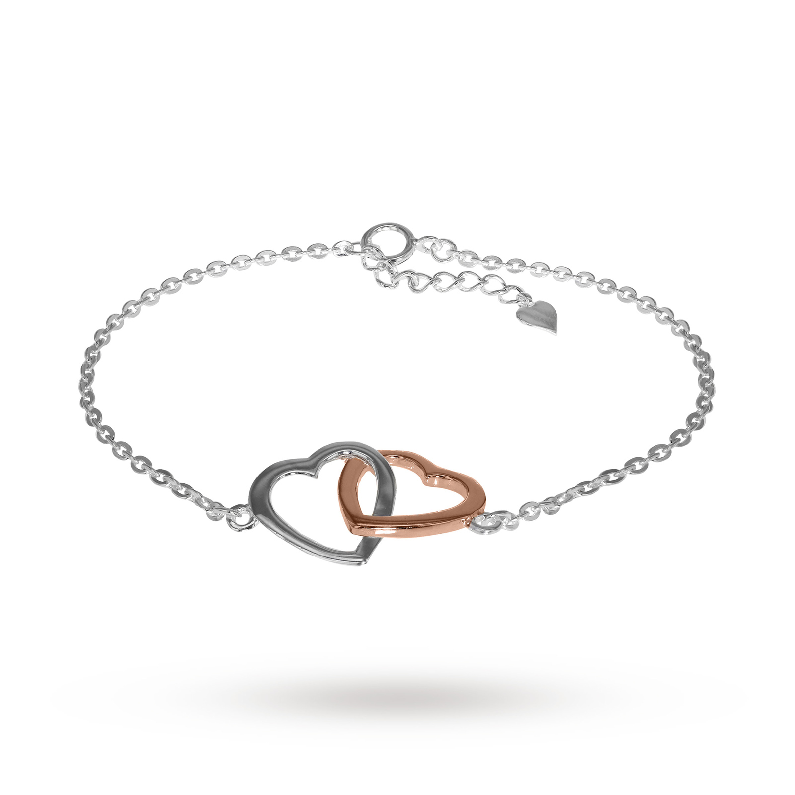 White Rose Gold Plated Double Heart Bracelet