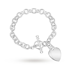 Sterling Silver Heart Tag T-Bar Belcher Bracelet