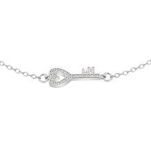 Rhodium Plated Cubic Zirconia Key Bracelet