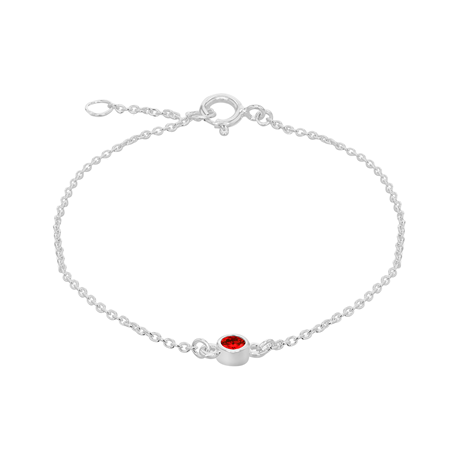 Silver January Red Cubic Zirconia Bracelet