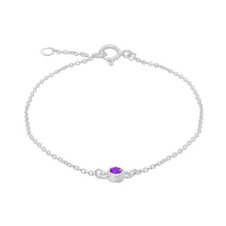 Silver February Purple Cubic Zirconia Bracelet
