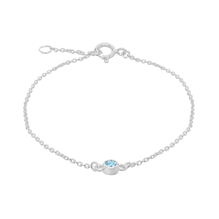 For Her - Silver March Turquoise Cubic Zirconia Bracelet - 8.29.8911