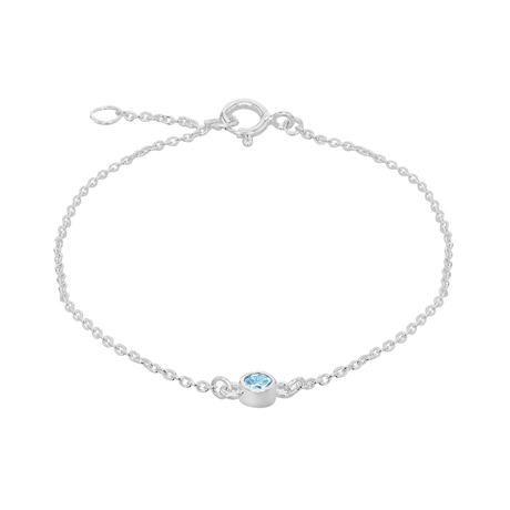 Silver March Turquoise Cubic Zirconia Bracelet