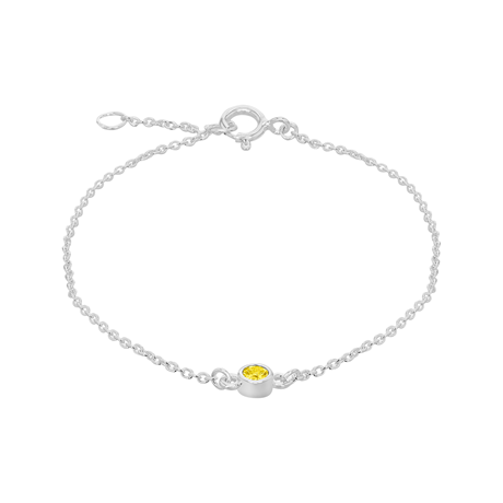Silver November Yellow Cubic Zirconia Bracelet