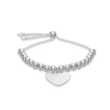 Sterling Silver Beaded Heart Tag Slider Bracelet