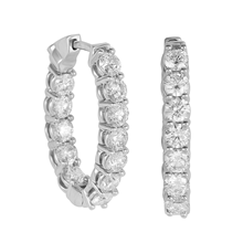 Mayors 18ct White Gold 3.60ct Diamond Hoop Earrings