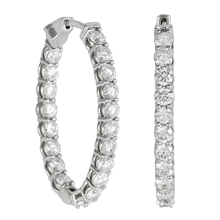 18ct White Gold 3.99ct Diamond Hoop Earrings