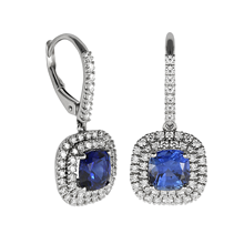 Mayors 18ct White Gold Diamond & Sapphire Drop Earrings