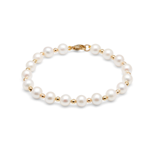 9ct Yellow Gold Bead & Pearl Bracelet Strand 7-7.5mm