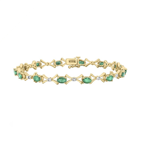 9ct Yellow Gold Emerald and Diamond Bracelet
