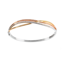 9ct Tri Tone 0.33ct Diamond Bangle