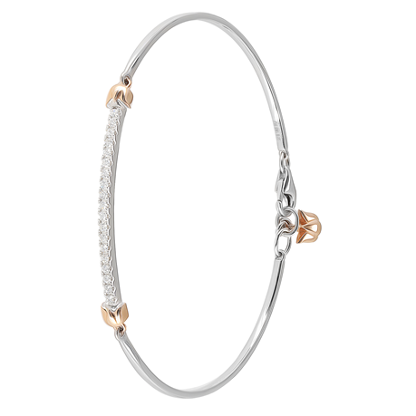 Lotus 18ct White and Rose Gold 0.25cttw Bracelet
