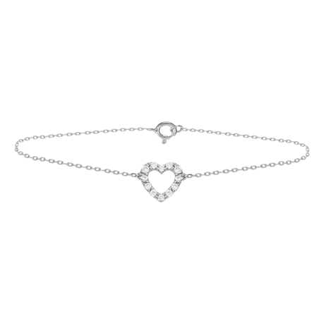 9ct White Gold 0.13ct Diamond Heart Bracelet