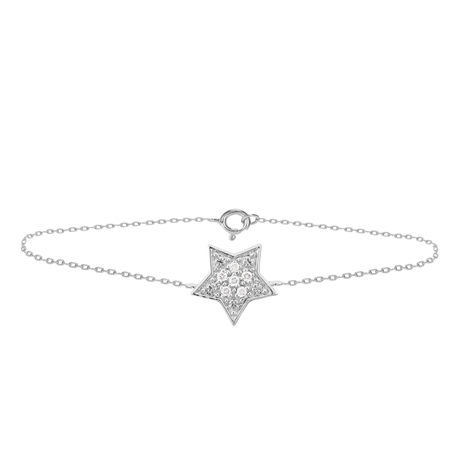 9ct White Gold Diamond Star Bracelet