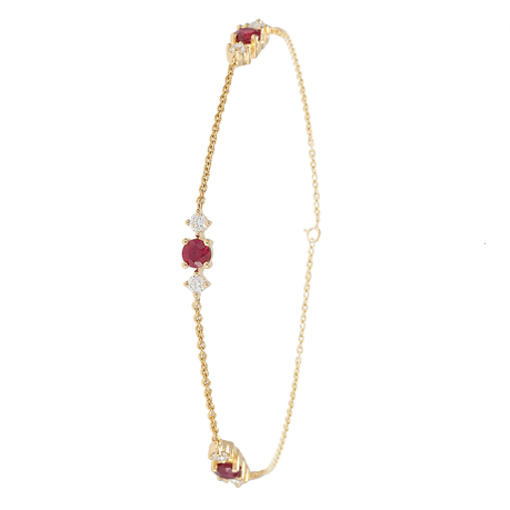 Carrington 18 Yellow Gold Ruby & Diamond 3 Cluster Bracelet