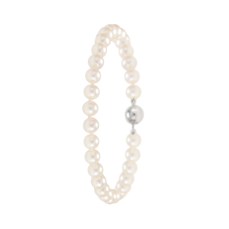 18ct White Gold 5mm Freshwater Pearl Bracelet